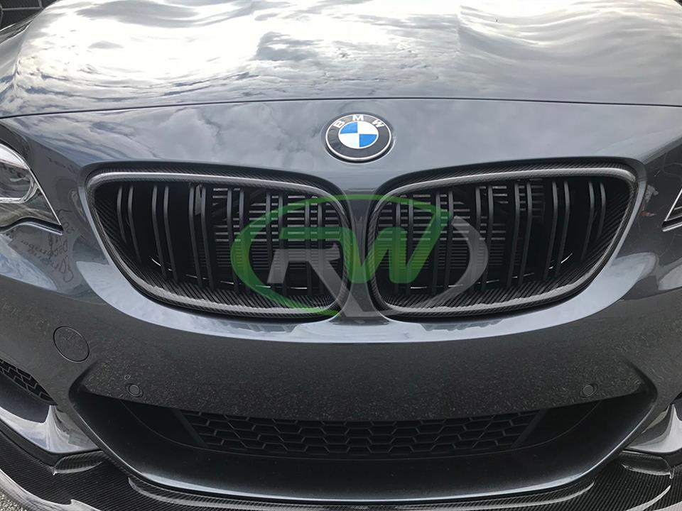 rw carbon fiber bmw f22 m240i with cf grill replacements