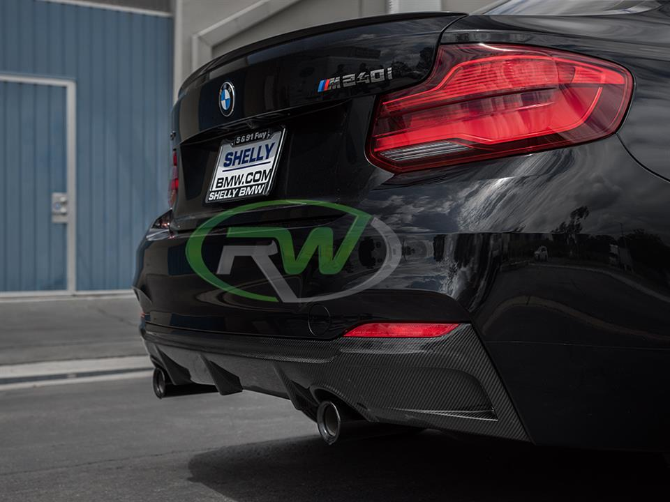 black bmw f22 m240i 2 series with rw carbon fiber exotics tuning style cf rear diffuser