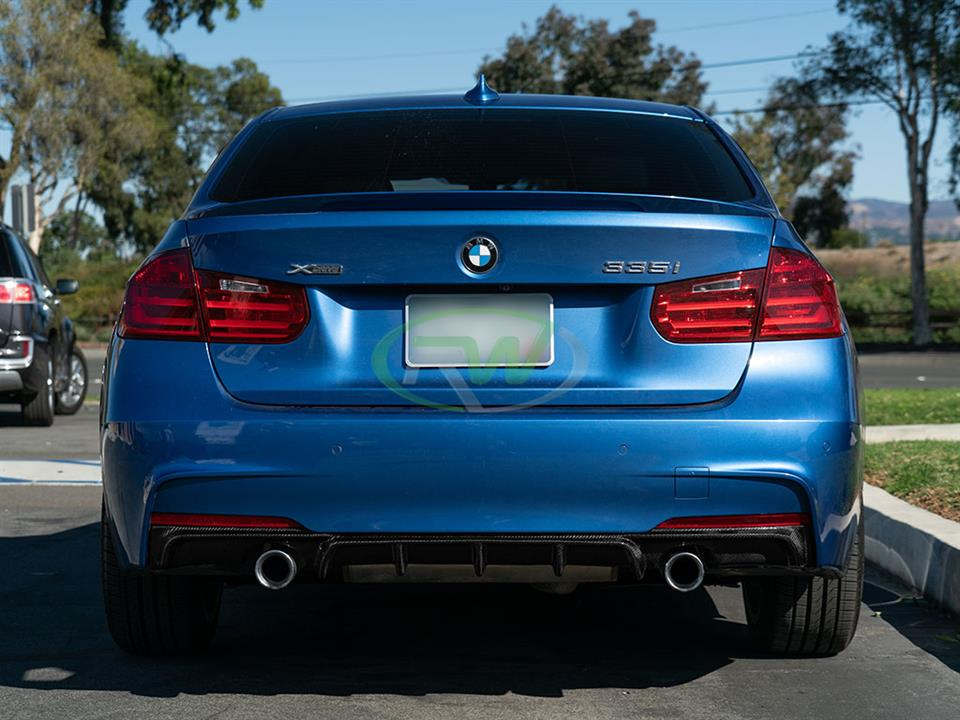 rw carbon fiber bmw f30 performance style cf rear diffuser