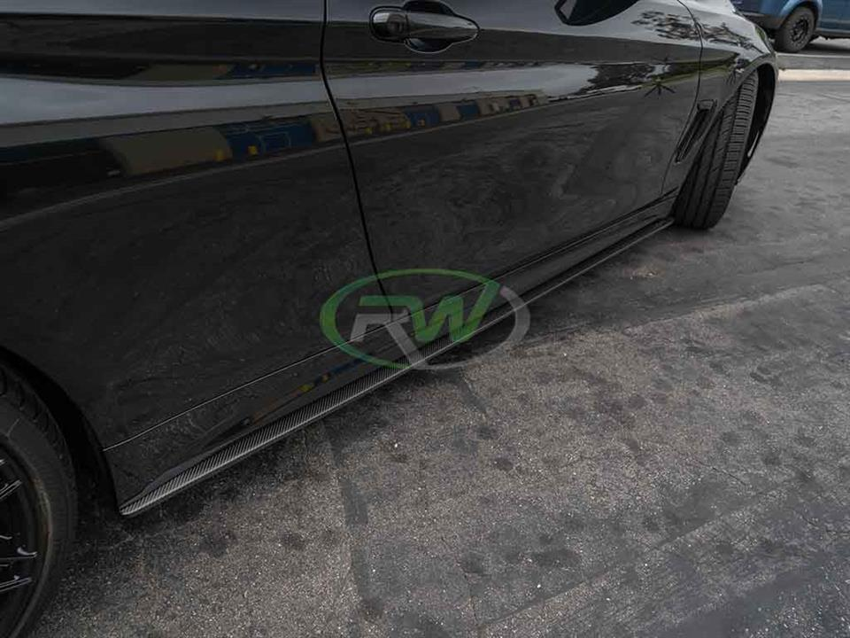 rw carbon bmw f32 4 series carbon fiber side skirt extensions