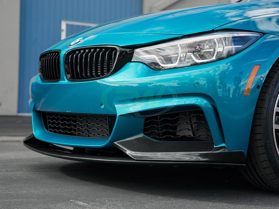 snapper rocks blue bmw f36 440i grand coupe rw carbon fiber performance style cf front lip spoiler