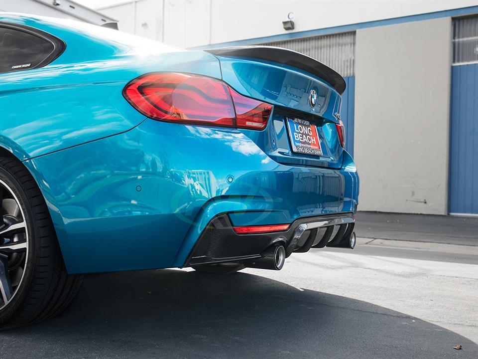 snapper rocks blue bmw f36 440i grand coupe rw carbon fiber performance style rear diffuser