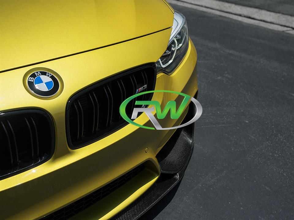 austin yellow bmw f80 m3 sedan with rw carbon fiber performance style front lip spoiler
