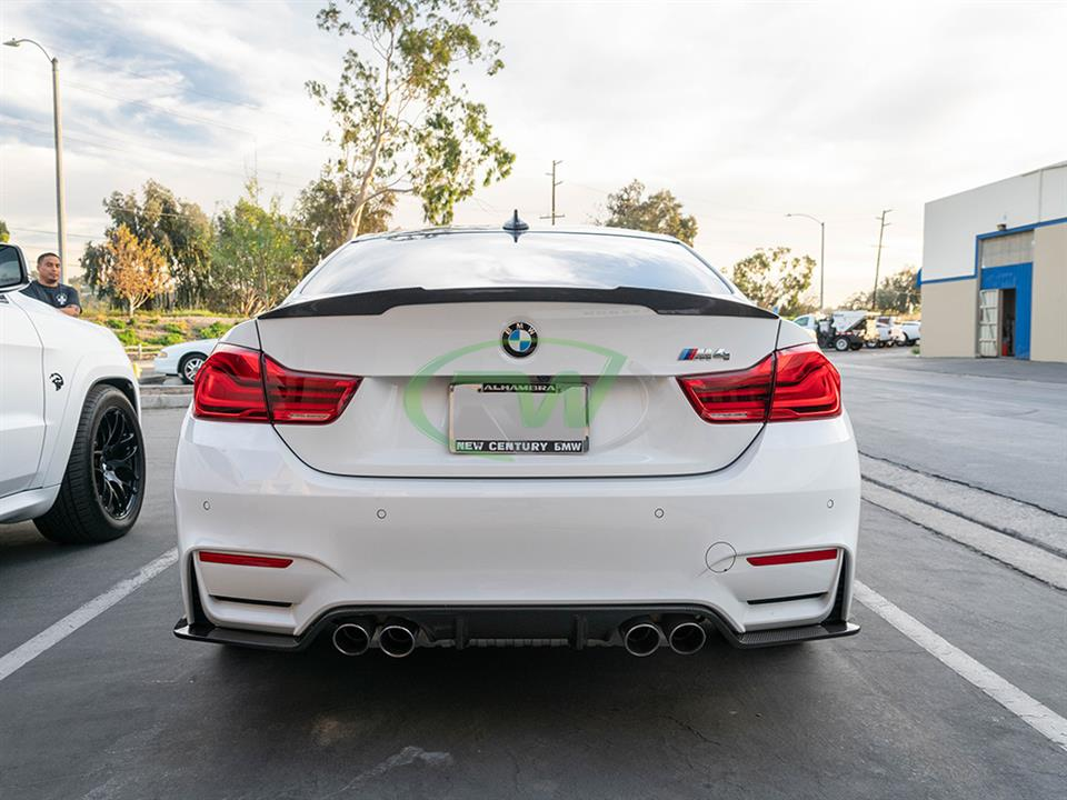 rw carbon fiber bmw f82 m4 performance style cf trunk spoiler