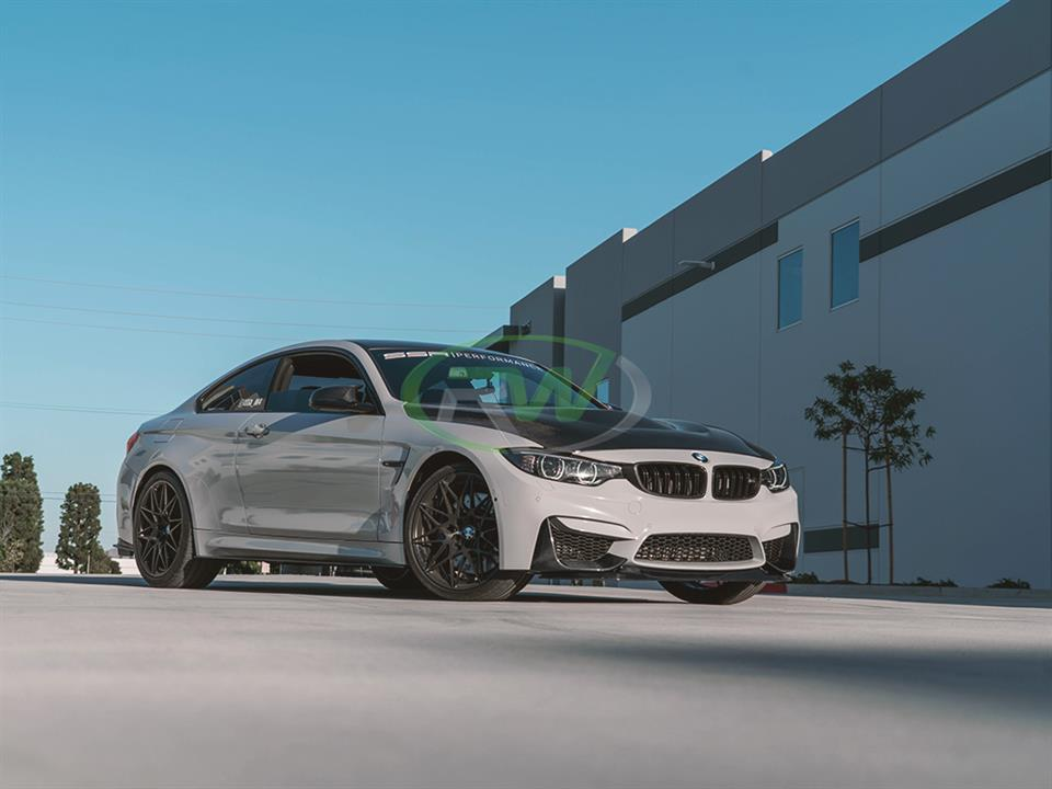 rw carbon fiber bmw f82 m4 gts style cf front lip with performance splitters