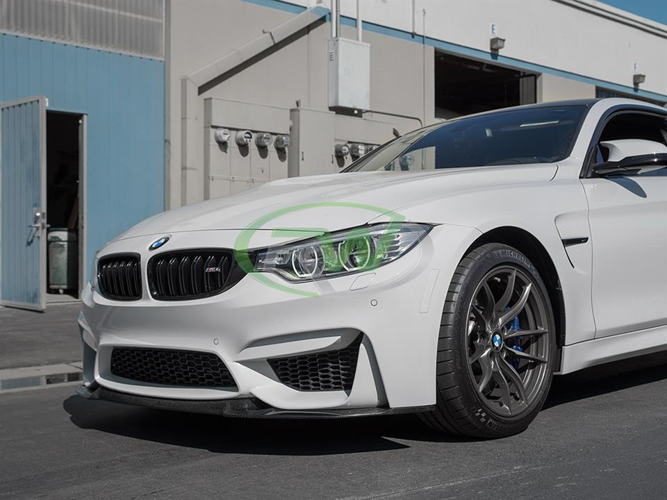 alpine white bmw f82 m4 coupe with rw carbon fiber cs style cf front lip spoiler