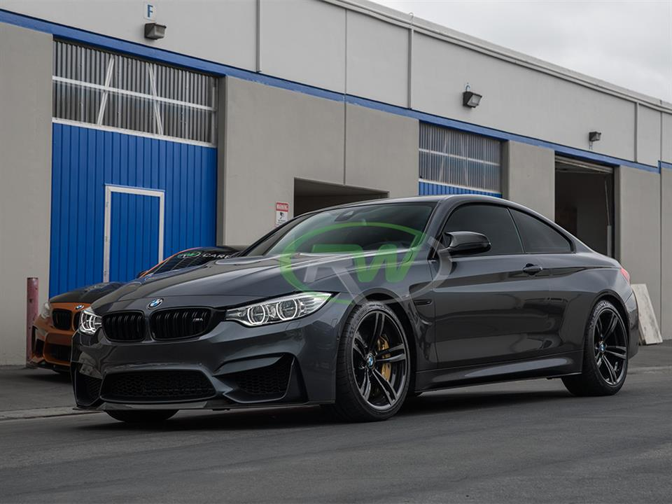 grey bmw f82 m4 coupe with rw carbon fiber cs style cf front lip spoiler