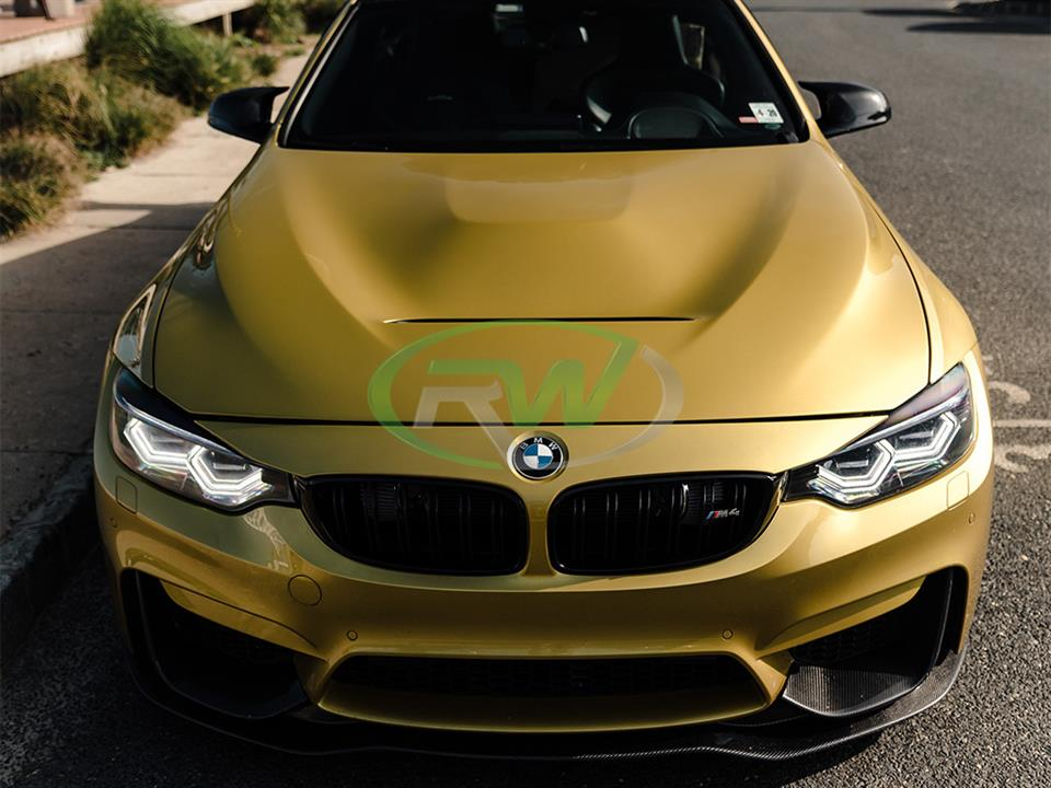 austin yellow bmw f82 m4 with color matched painted rw carbon fiber gts style cf hood