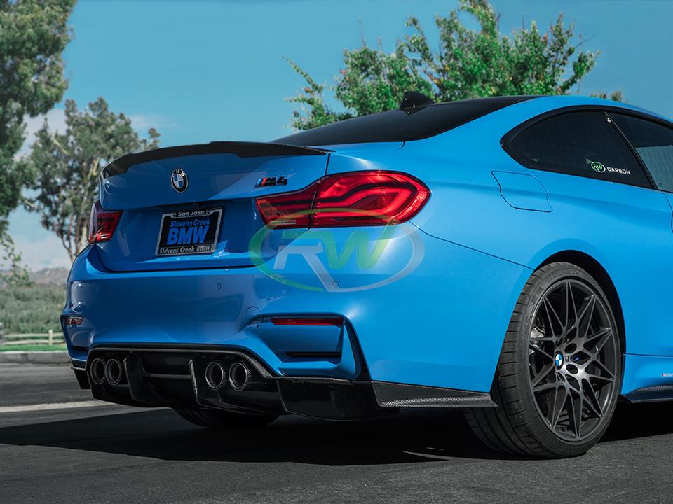 Yas Marina Blue Bmw F82 M4 coupe with Rw carbon fiber gtx cf rear diffuser