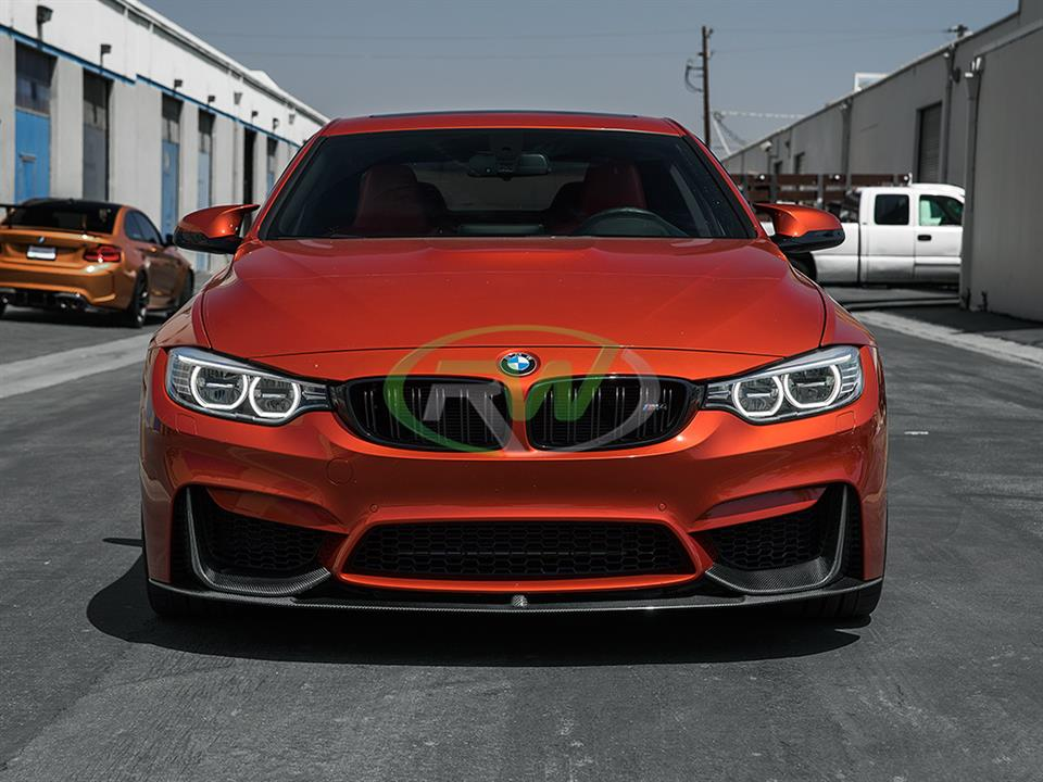 sakhir orange bmw f82 m4 with rw carbon fiber performance style cf front lip