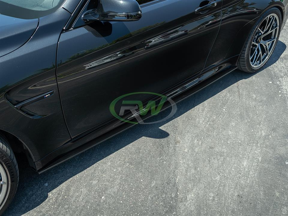 rw carbon fiber bmw f82 m4 side skirt extensions