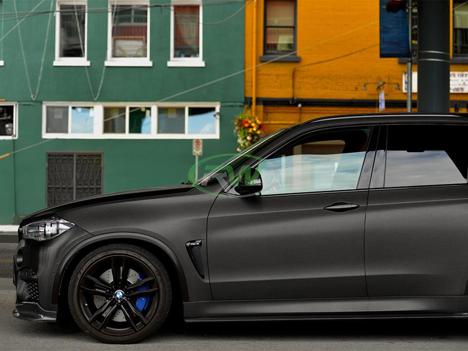 satin black bmw f85 x5m suv with rw carbon fiber cf side skirt extensions