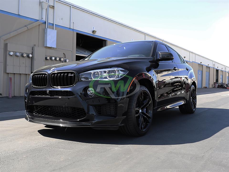 rw carbon fiber blue bmw f86 x6m cf front lip spoiler with carbon fiber grills