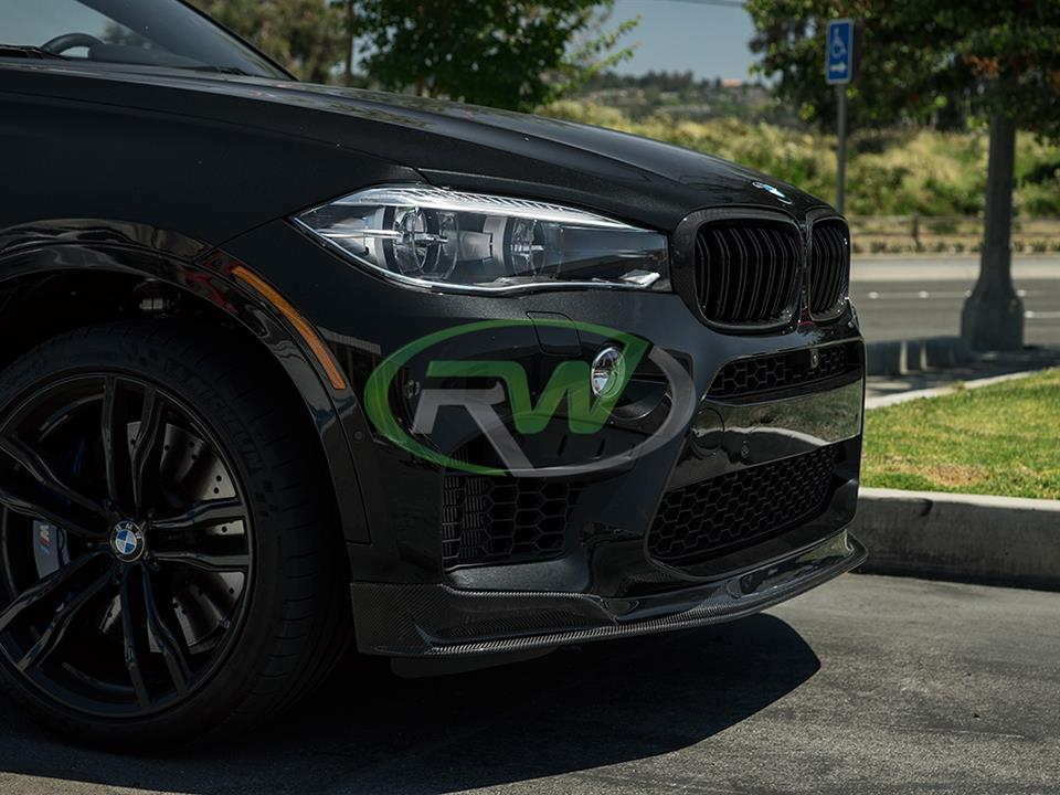 black bmw f86 x6m with rw carbon fiber cf front lip