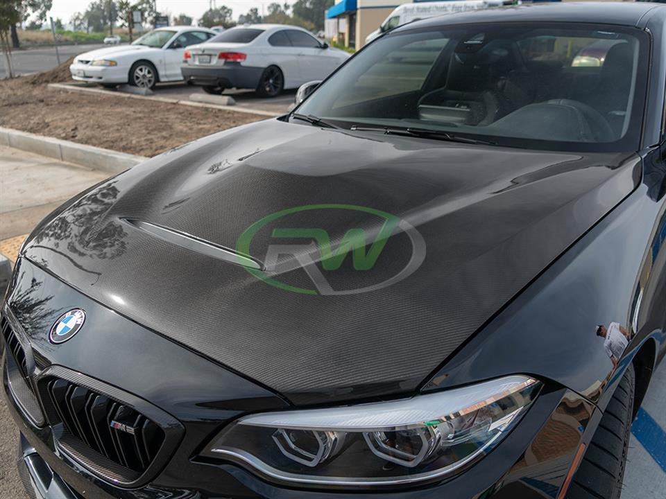 bmw f87 m2 with an RW carbon fiber gts style hood