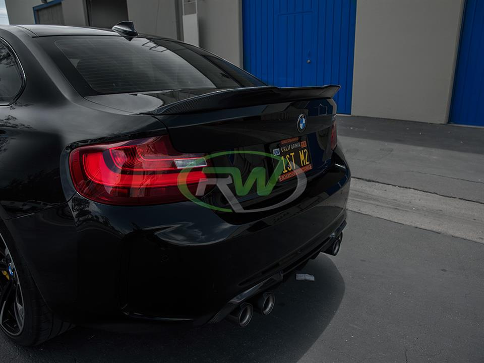 black bmw f87 m2 with rw carbon fiber gtx style cf trunk spoiler