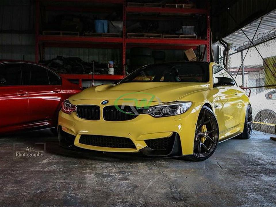 yellow bmw f82 m4 coupe with rw carbon fiber gts style cf hood replacement