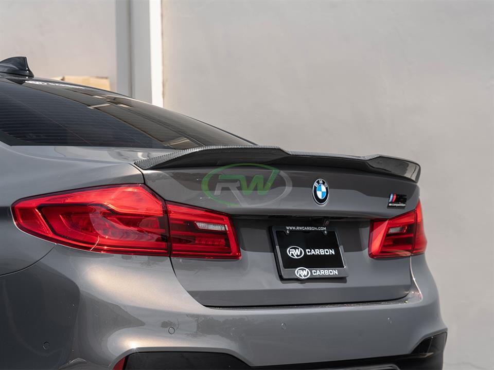 rw carbon fiber bmw f90 m5 performance style trunk spoiler