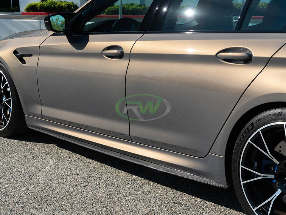 rw carbon fiber bmw f90 m5 cf side skirt extensions