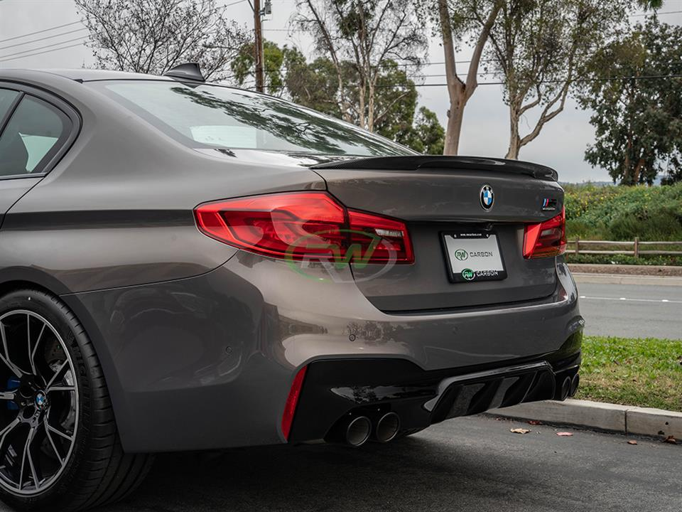 rw carbon fiber bmw f90 m5 high kick trunk spoiler