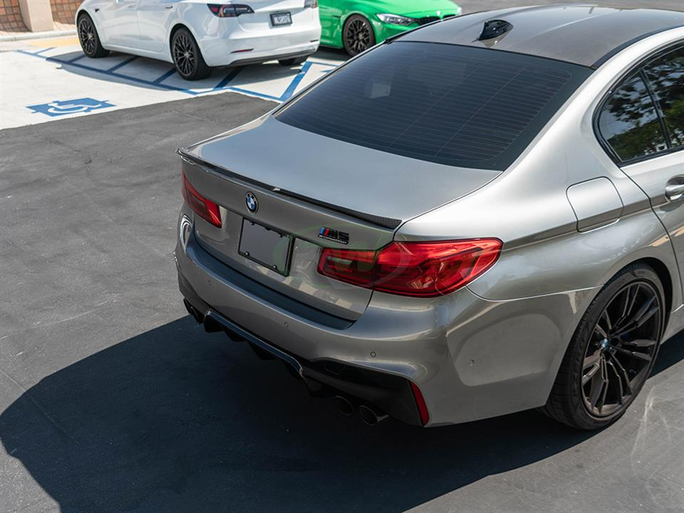 rw carbon fiber bmw f90 performance style trunk spoiler