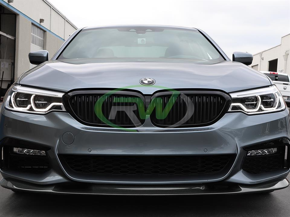 grey bmw g30 540i 5 series with rw carbon fiber 3d style cf front lip spoiler