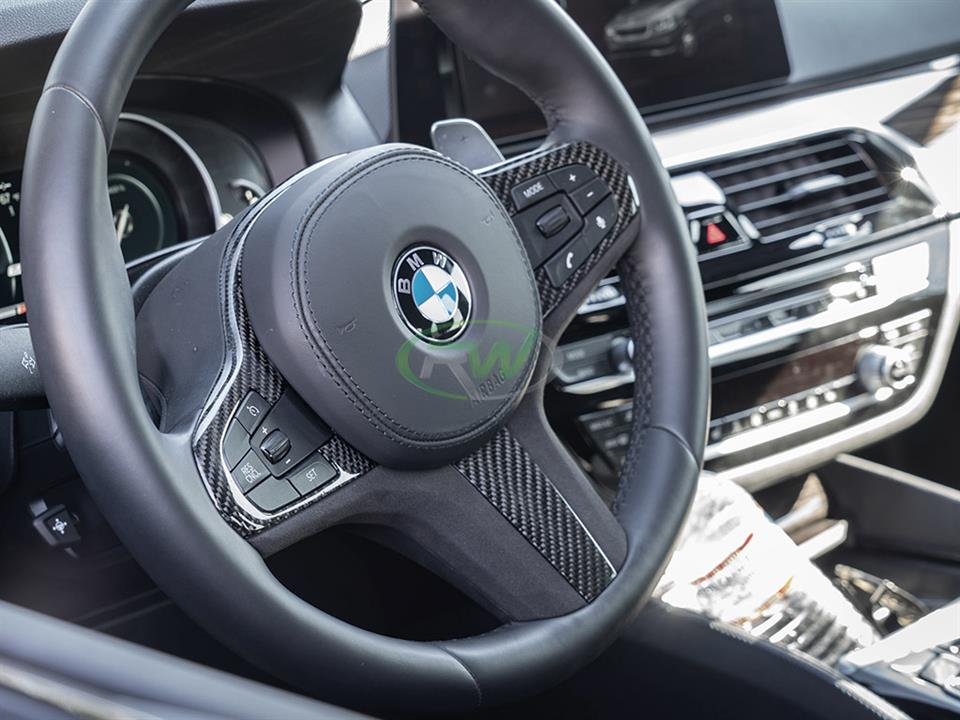 rw carbon fiber bmw g30 cf alcantara steering wheel trim