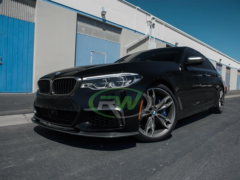 black bmw g30 m550i 5 series with rw carbon fiber 3d style cf front lip spoiler
