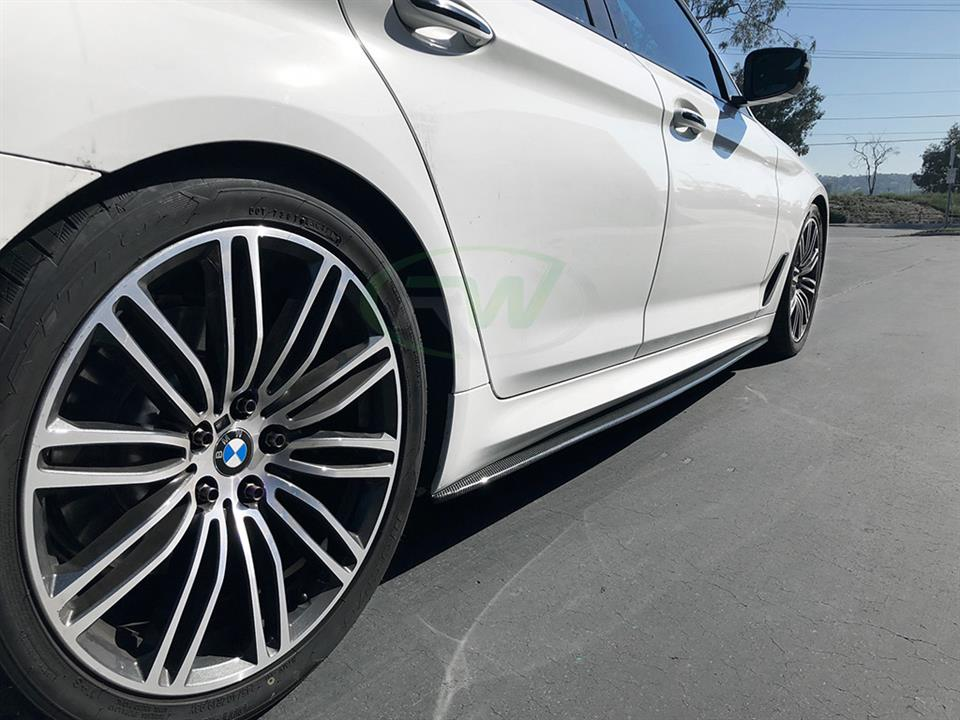 white bmw g30 5 series gets rw carbon fiber cf side skirt extensions
