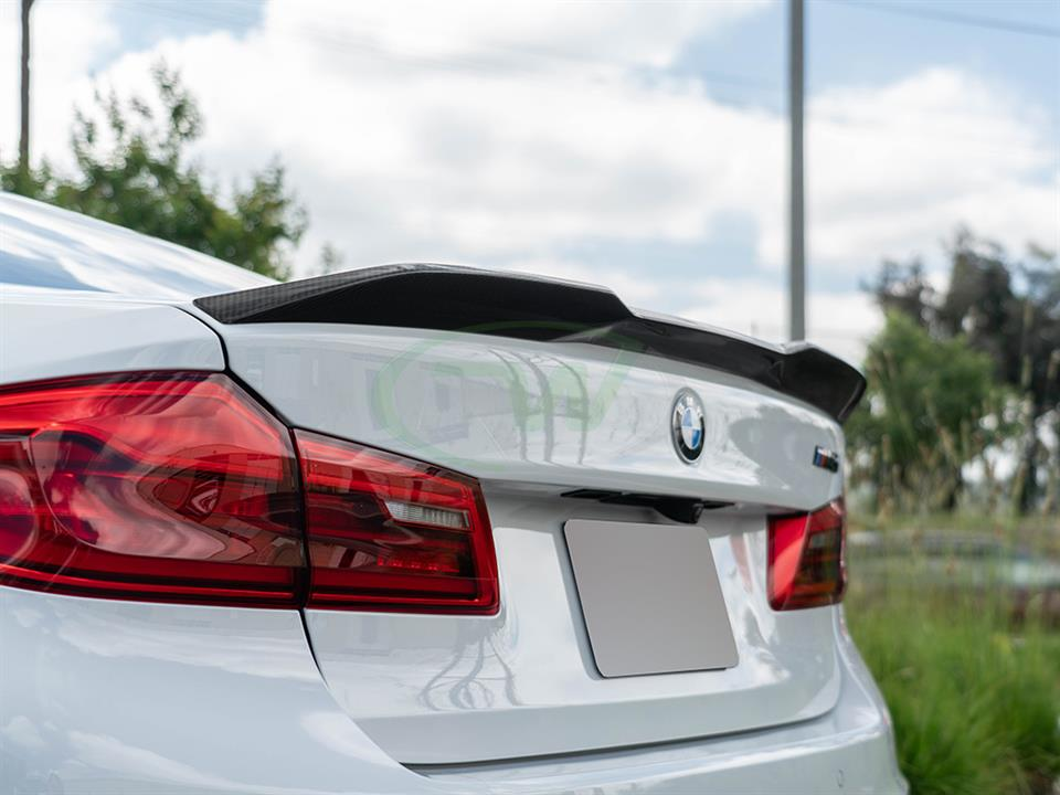 rw carbon fiber bmw f90 m5 performance style carbon fiber trunk spoiler