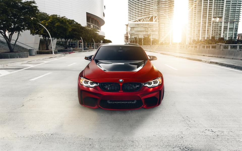 Red BMW F80 M3 with the RW Carbon Fiber GTS Style Hood