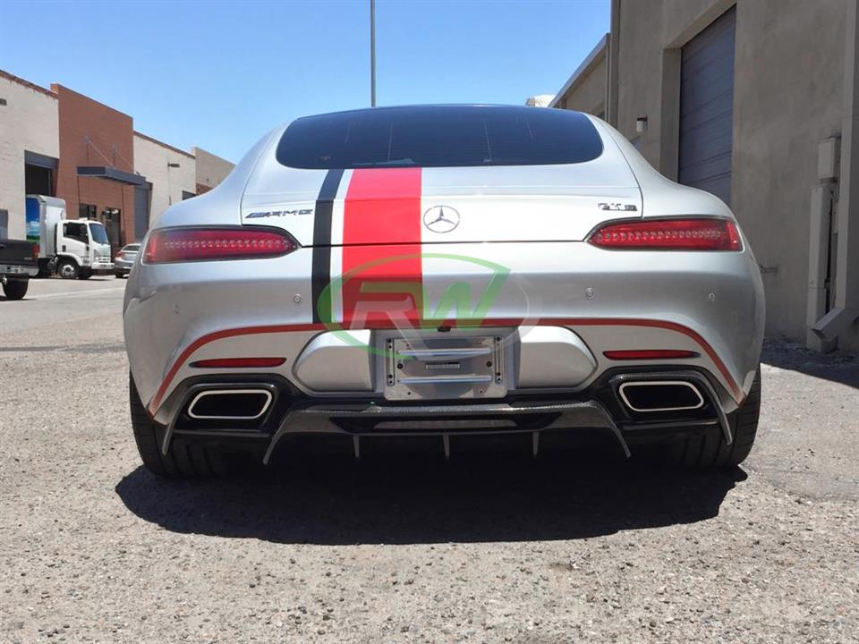 silver mercedes benz c190 amg gts with rw carbon fiber rear cf diffuser