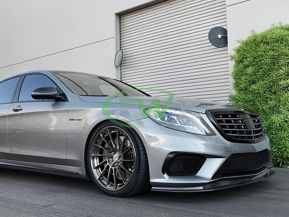 silver mercedes benz w222 s63 amg sedan with rw carbon fiber front lip cf spoiler
