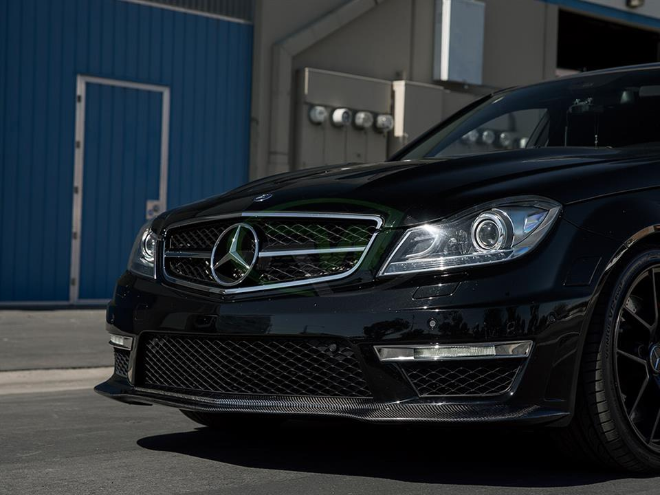 rw carbon fiber black mercedes benz w204 c63 amg sedan black series style front lip spoiler