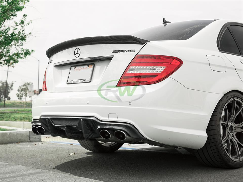 white w204 c63 amg sedan with rw carbon fiber cf dtm style rear diffuser
