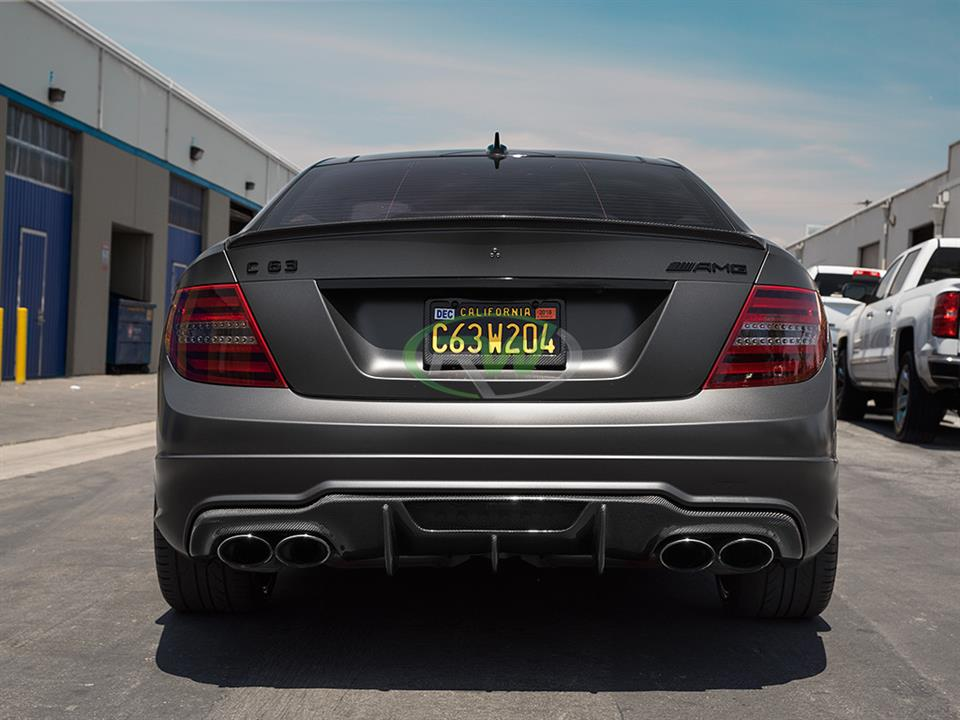 grey Mercedes benz w204 c63 amg sedan with rw carbon fiber dtm style cf rear diffuser