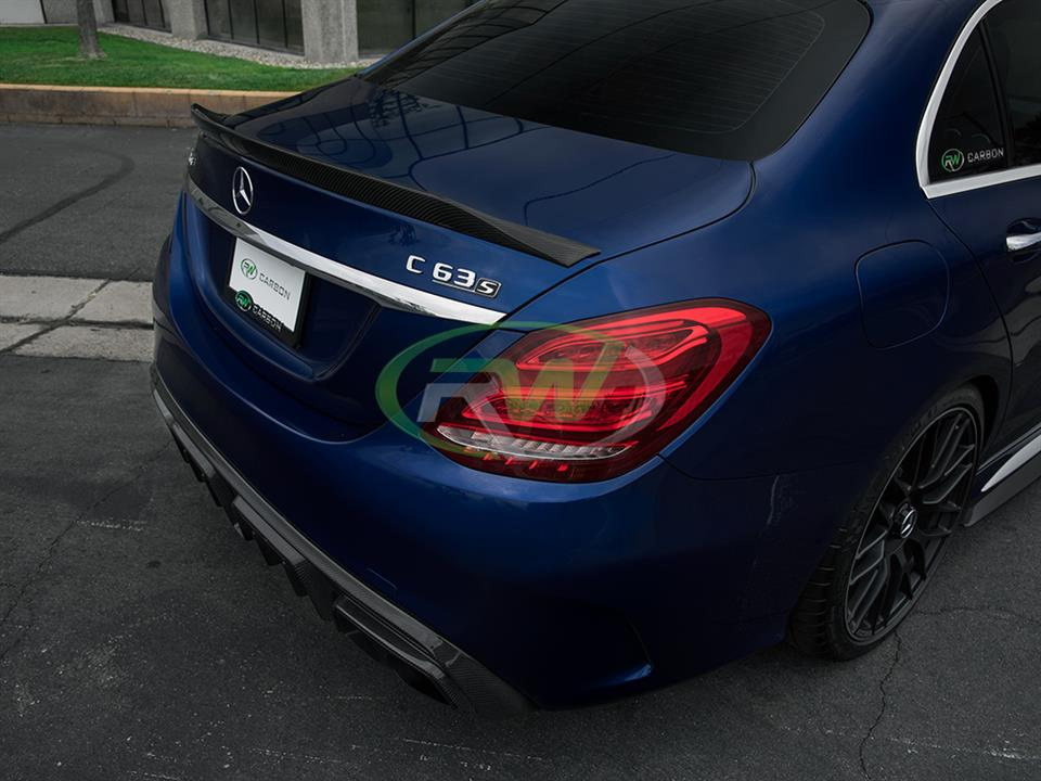 blue mercedes benz w205 c63s amg sedan with rw carbon xr style cf trunk spoiler