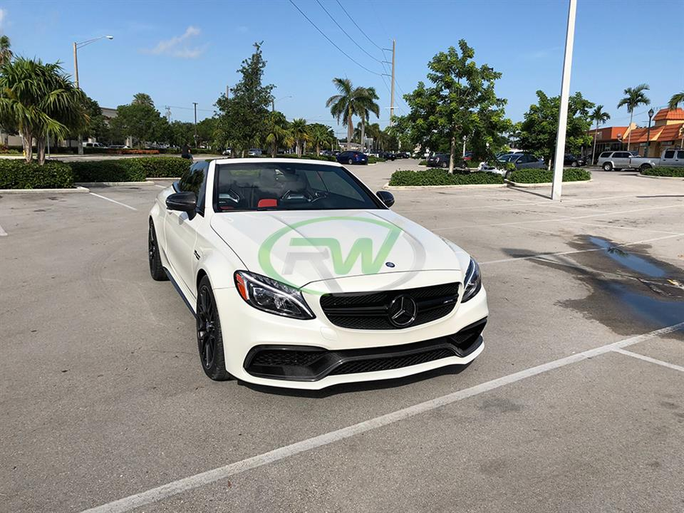 white mercedes benz w205 c63 amg coupe convertible with rw carbon fiber front cf trim