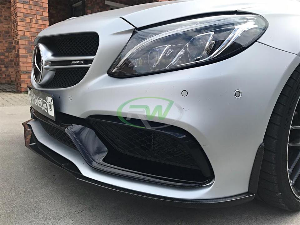 silver mercedes benz w205 c63 amg sedan with rw carbon fiber ed 1 style cf front lip spoiler