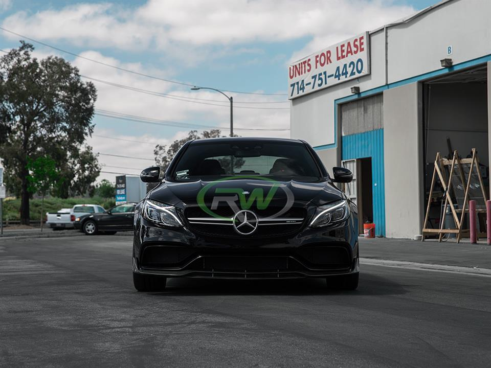 black mercedes benz w205 c63s amg sedan with rw carbon fiber brabus style cf front lip spoiler