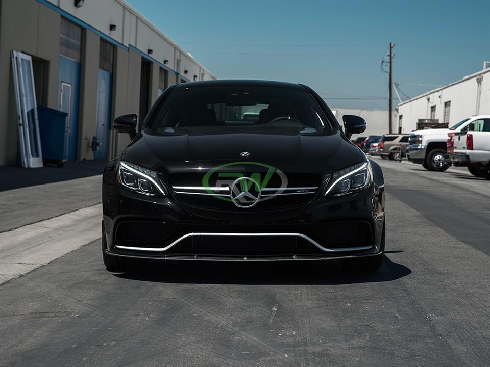 black mercedes benz w205 c63s coupe with rw carbon fiber edition 1 style cf front lip spoiler