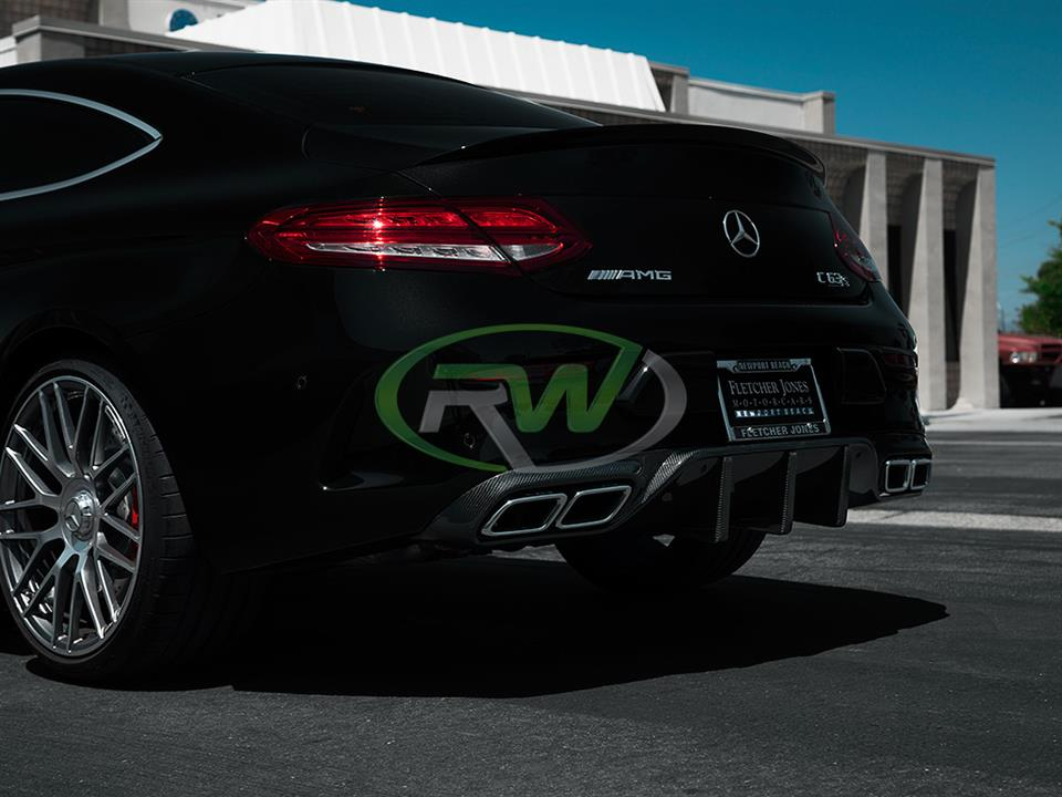 black mercedes benz w205 c63s coupe with rw carbon fiber dtm rear cf diffuser