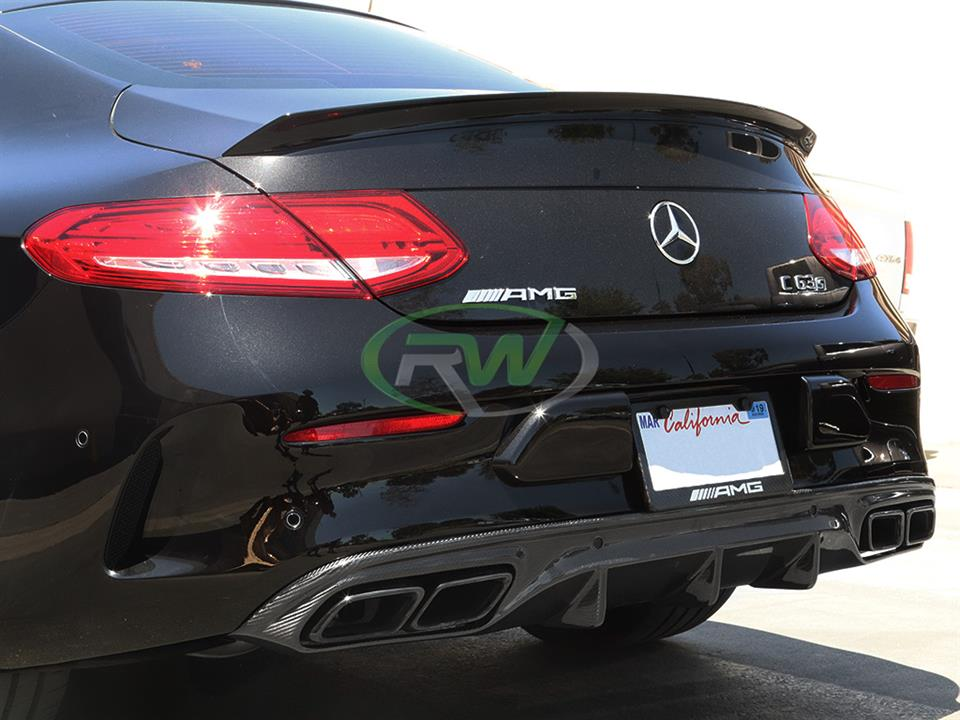 black mercedes benz w205 c63s amg coupe with rw carbon fiber coupe cf rear diffuser