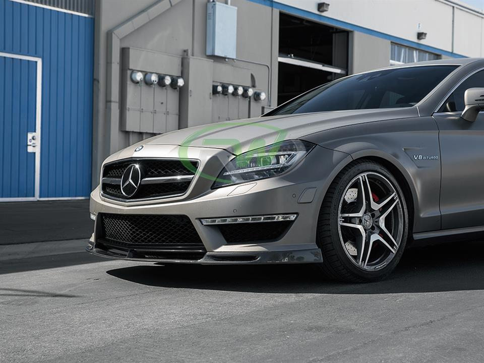Grey Mercedes benz w218 cls63 amg with rw carbon fiber dtm style cf front lip spoiler