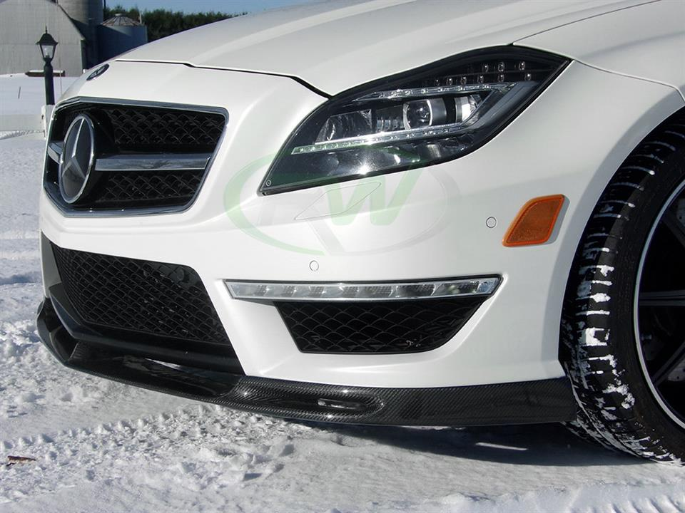 rw carbon fiber mercedes benz white w218 cls63 amg with ddm style cf front lip spoiler