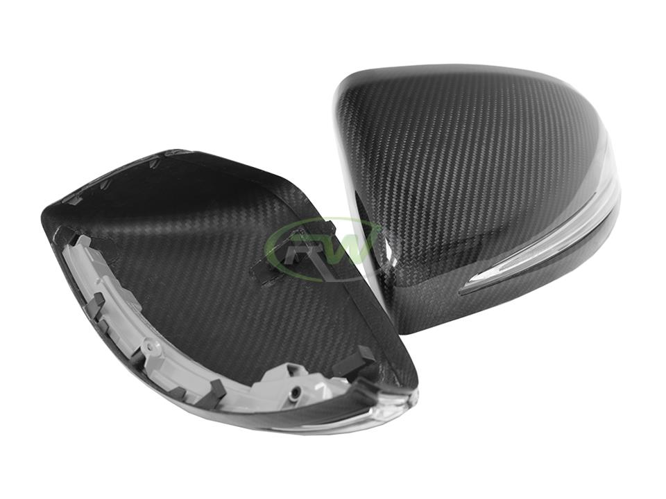 rw carbon fiber mercedes w205 mirror cap replacements