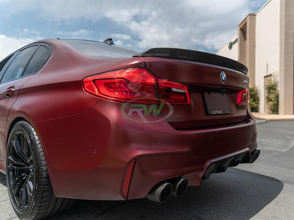 rw carbon fiber red bmw f90 m5 3d style cf trunk spoiler