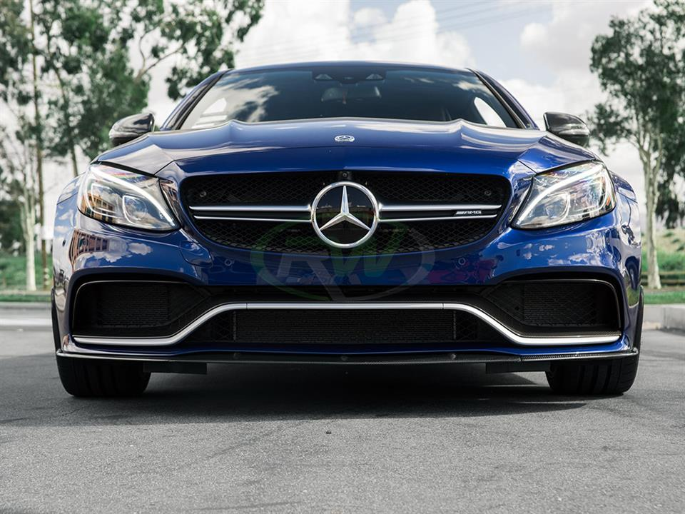 Brilliant Blue W205 C63S Amg coupe gets rw carbon fiber edition 1 style front cf lip spoiler