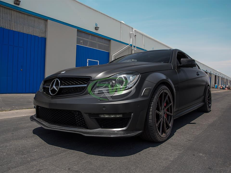 grey mercedes benz w204 c63 amg sedan with rw carbon fiber black series style cf front lip spoiler