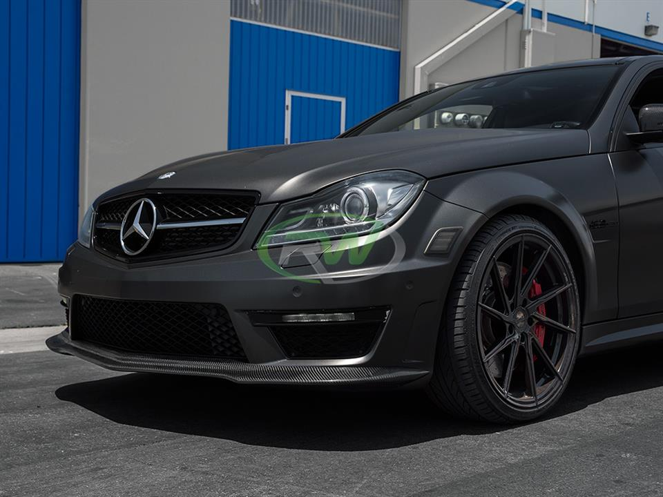 Mercedes Benz w204 c63 amg sedan with rw carbon fiber black series style cf front lip spoiler